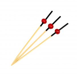 BAMBOO PICK RED BALL 9 CM 100 stk