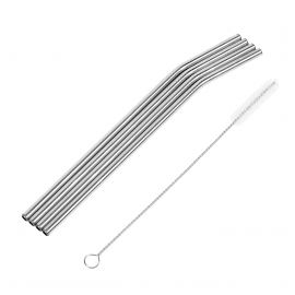STAINLESS STEEL STRAW 215mm 4-PACK m/ PIPERENSER