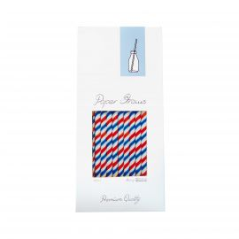 PAPERSTRAW RED/WHITE/BLUE 8x255MM 100STK